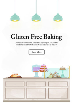 Bakery counter illustration with watercolour detailing and space for messaging. Gluten free baking. Interior vector illustration set.