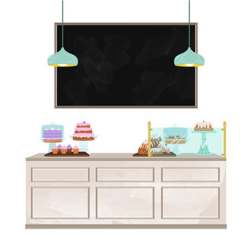 Bakery counter illustration with large, blank chalkboard messaging space. Interior vector illustration set.