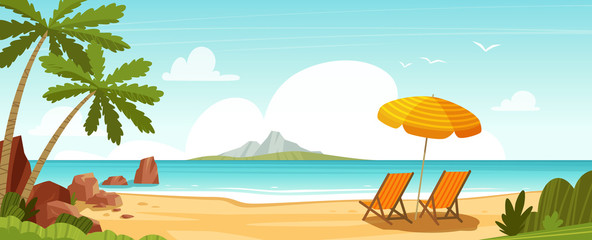 Sea beach and sun loungers. Seascape, vacation banner. Cartoon vector illustration