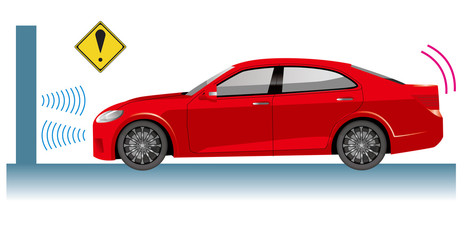 自動車のイラスト|自動ブレーキの概念イラスト|衝突回避イメージ セダン