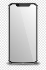 Smart phone with blank screen on transparent background.