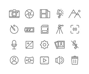 Simple Set of Camera vector thin line icons, Editable Stroke linear symbols.
