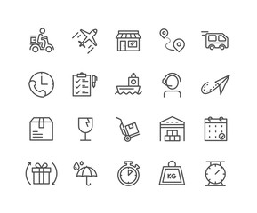 Simple Set of Delivery vector thin line icons, Editable Stroke linear symbols.