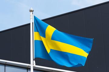 Flagge von Schweden auf einem Flaggenmast