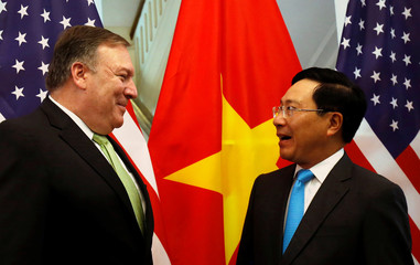 U.S. Secretary of State Mike Pompeo meets with Vietnam's Deputy Prime Minister and Foreign Minister Pham Binh Minh in Hanoi