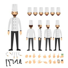chef character set. Full length. Different view, emotion, gesture.