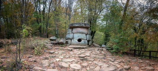 Дольмен в лесу, в долине реки Джанет. Россия.