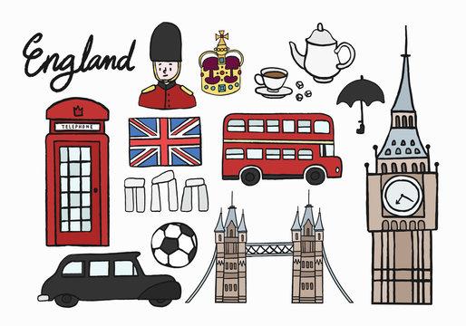 Collection of England symbol illustration