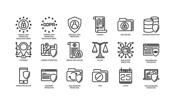General Data Protection Regulation (GDPR) icons set 1