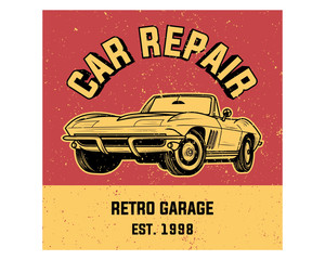 car repair garage classic vintage retro