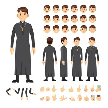 pastor character set. Full length. Different view, emotion, gesture.