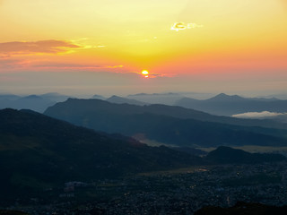 View of Pokhara Valley from hill Sarangkot during sunrise, Nepal