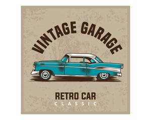 classic vintage garage retro car classic image poster
