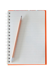 Notebook and pencil . (clipping path)