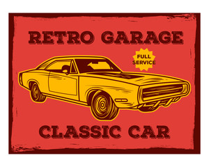 retro garage classic car old school vintage