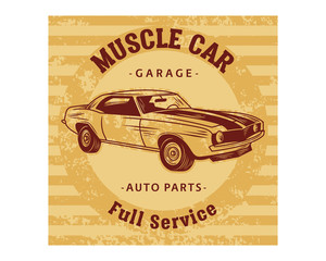muscle car garage auto parts full service classic vintage retro image