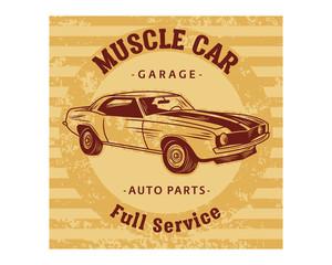muscle car garage auto parts full service classic vintage retro image