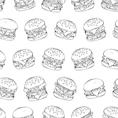 Group of vector illustrations on the fast food theme; pattern of different kinds of burgers.