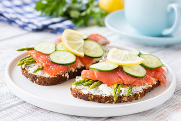 Salmon sandwiches with asparagus, cream cheese and cucumber on white plate. Healthy breakfast or healthy snack. Selective focus
