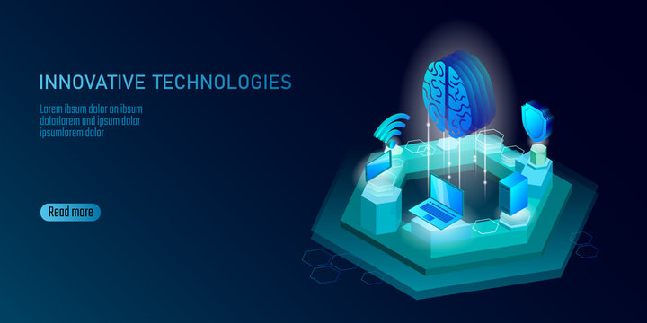 Isometric artificial intelligence business concept. Blue glowing isometric personal information data connection pc smartphone human brain future technology. 3D infographic vector illustration