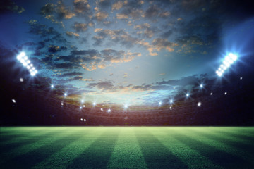 lights at night and football stadium 3d rendering. Mixed photos