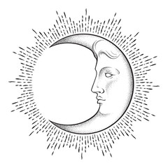 Crescent moon with face in antique style hand drawn line art and dotwork. Boho chic tattoo, poster, altar veil, tapestry or fabric print design vector illustration.