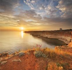 Sunset on he sea cliffs.