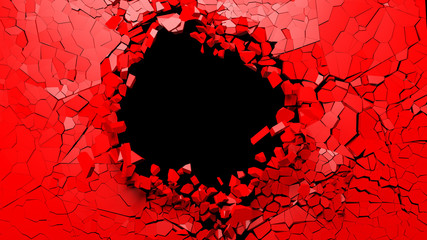 Hole on a broken red wall blank space. 3d illustration.