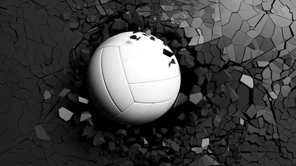 Volleyball ball breaking forcibly through a black wall. 3d illustration.