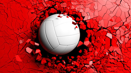 Volleyball ball breaking forcibly through a red wall. 3d illustration.