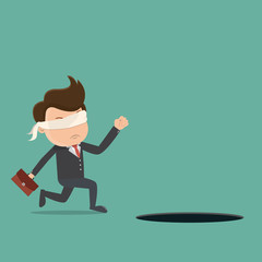 Blindfolded businessman walking into the hole. Vector illustration.