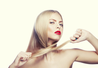 Beauty girl portrait. Hair style, red lips make-up, clean skin. Toned image