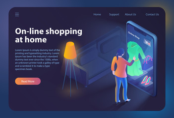 Online Shopping at Home Isometric Web Banner
