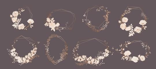 Floral bouquet design. Wedding invitation arrangement. Botanical frame.