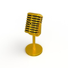 Vintage golden microphone isolated on white background, 3d rendering