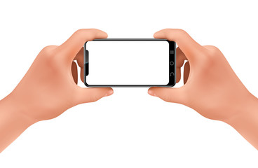 Vector 3d realistic human hands holding smartphone for taking photo. Template, mock up for mobile app or advertisment. Screen of electronic device, smart phone for poster, banner.