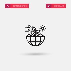 Outline Nature Icon isolated on grey background. Modern simple flat symbol for web site design, logo, app, UI. Editable stroke. Vector illustration. Eps10