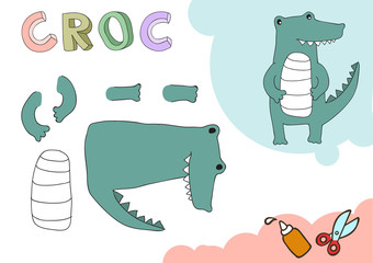 Funny Croc Paper Model. Small home craft project, DIY paper game. Cut out and glue. Cutouts for children. Vector template.