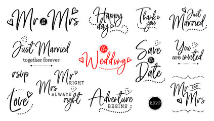 Wall Mural - wedding lettering set