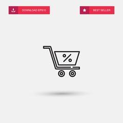 Outline Cart Icon isolated on grey background. Modern simple flat symbol for web site design, logo, app, UI. Editable stroke. Vector illustration. Eps10