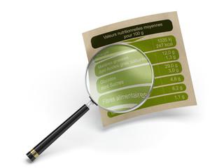 Analyse de la valeur nutritionnelle d'un aliment sur fond blanc. Décrypter les étiquettes alimentaires