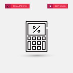Outline Calculator Icon isolated on grey background. Modern simple flat symbol for web site design, logo, app, UI. Editable stroke. Vector illustration. Eps10