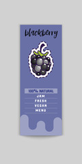 Blackberry Bio sticker and eco products. Blackberry web element, Isolated Vector.