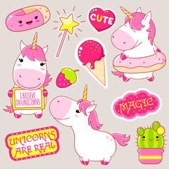 Set of cute unicorns stickers in kawaii style