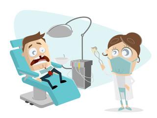 funny cartoon man at the dentist