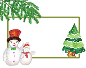 Watercolor. Christmas picture with snowmen, yellow pig under the tree