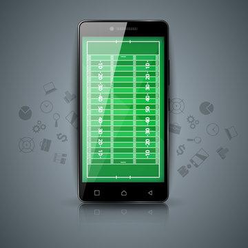 Digital gadget, smartphone, sport, american football template Vector eps 10