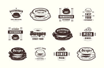 Set of pizza and burger labels, emblems and logos