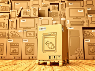 Shopping, purchase and delivery concept, box with a dishwasher icon on the background of a cardboard boxes with household appliances and electronics in the warehouse