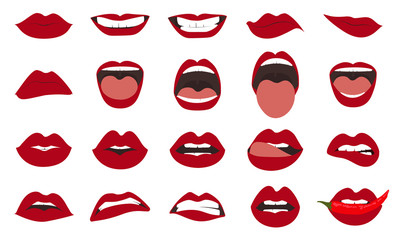 Woman lips gestures set. Girl mouths close up with red lipstick makeup expressing different emotions. EPS10 vector.